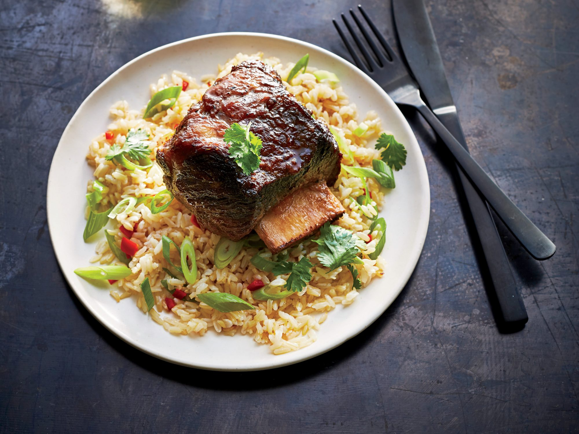 Korean-Style Short Ribs with Chile-Scallion Rice
