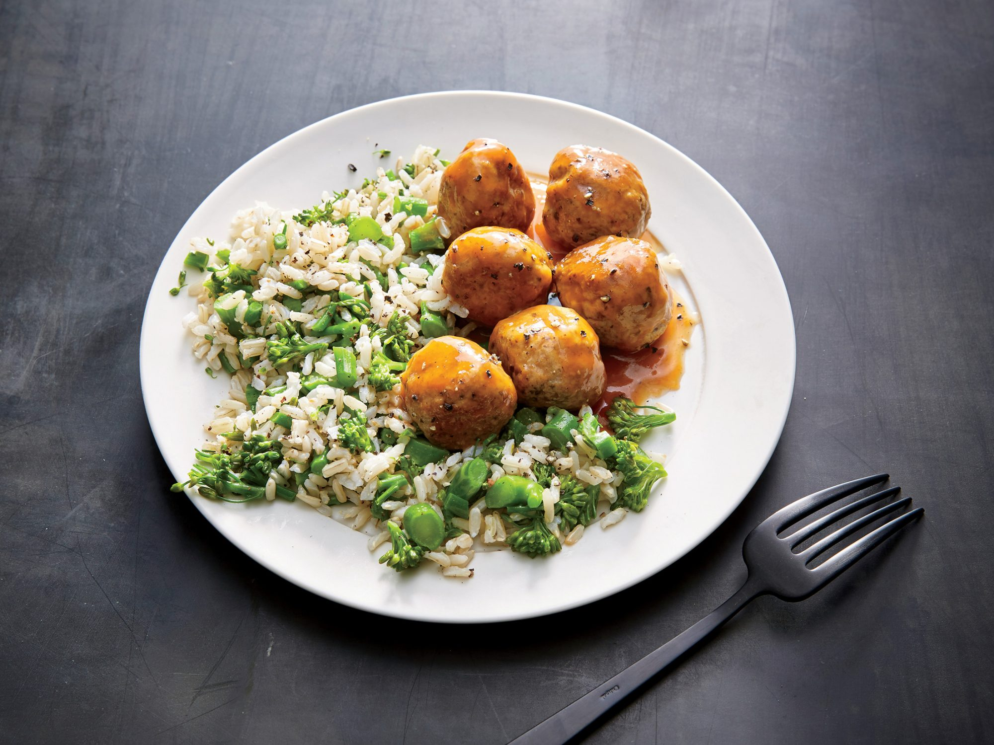 Mushroom and Pork Meatballs with Broccolini Rice