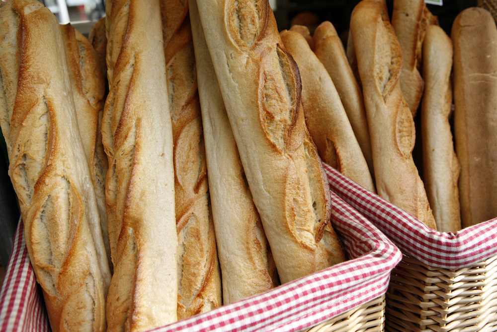France, Paris, Boulevard Raspail, Marche Bio, fresh French bread for sale at organic market