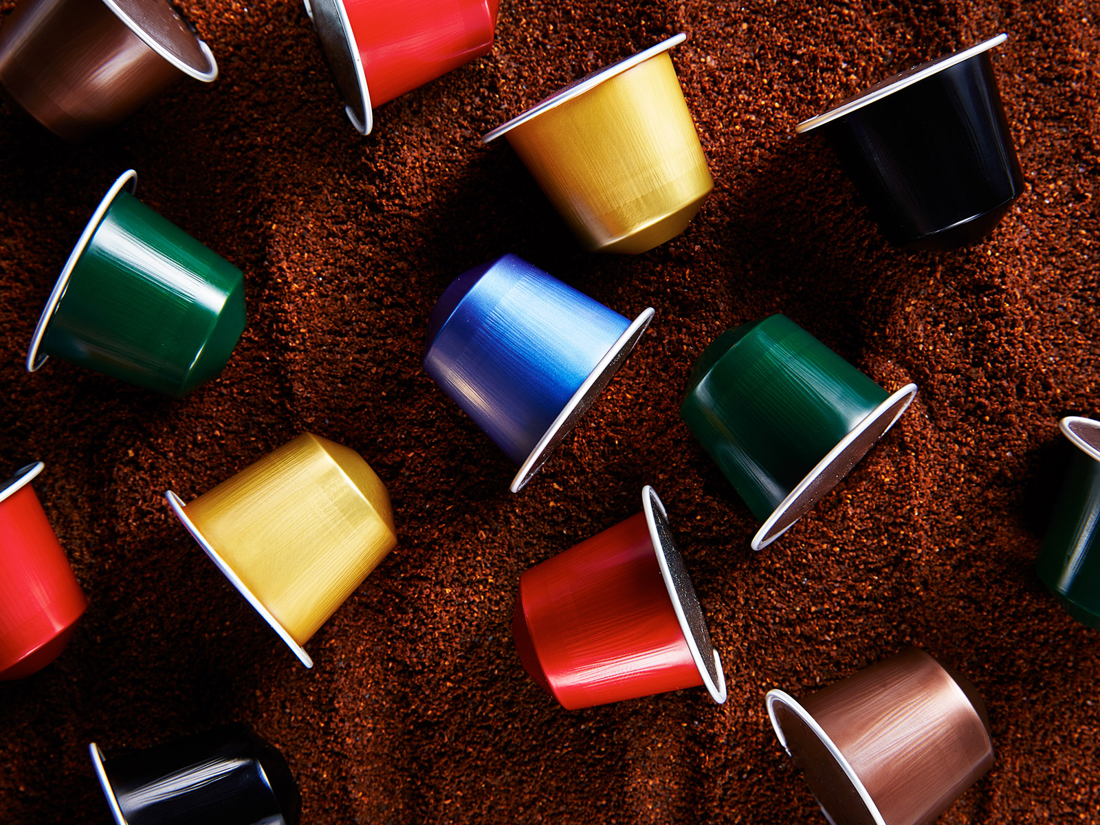 Colorful variety of coffee capsules