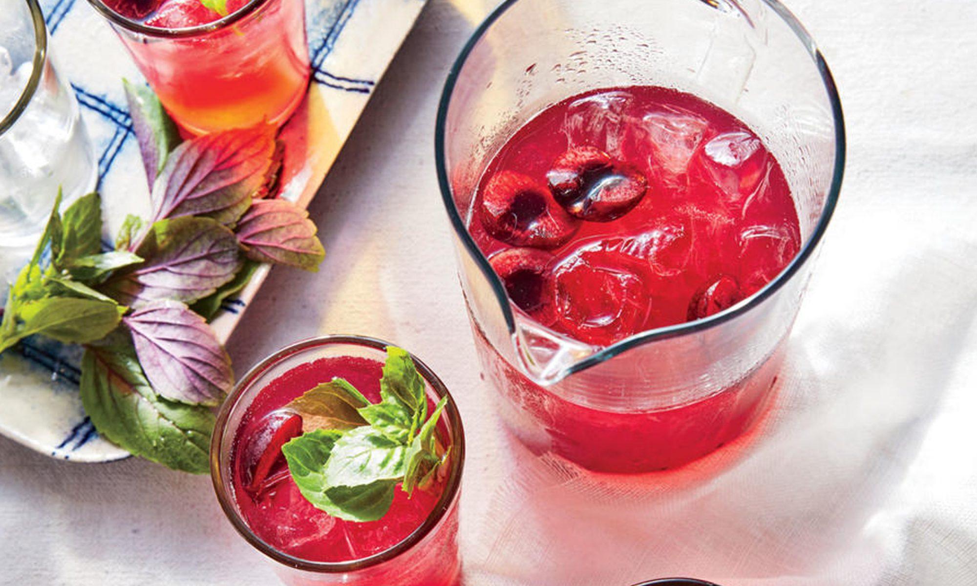 Boozy Cherry-Basil Lemonade Spritzers