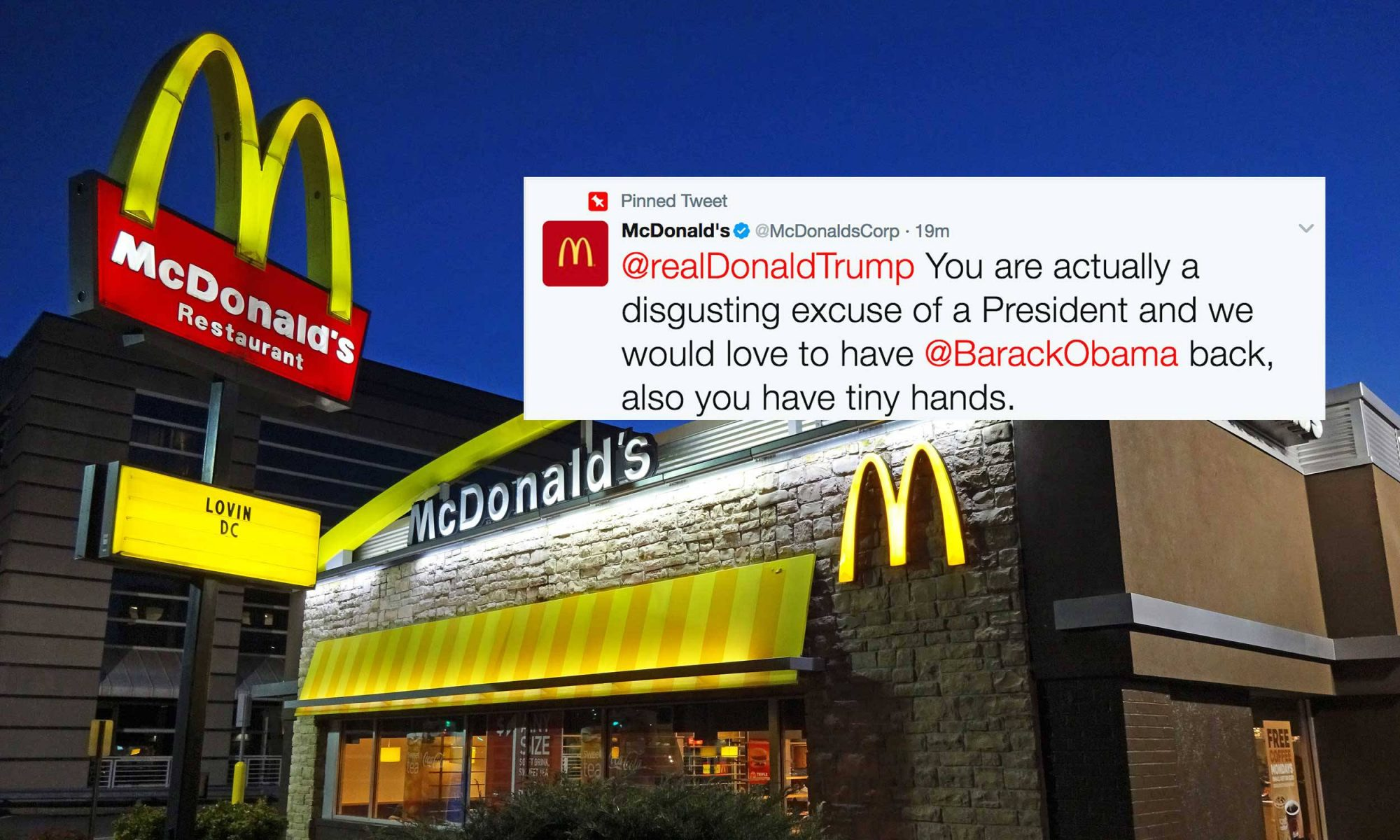 "EC: McDonald's Calls Out Donald Trump and His ""Tiny Hands"" on Twitter"