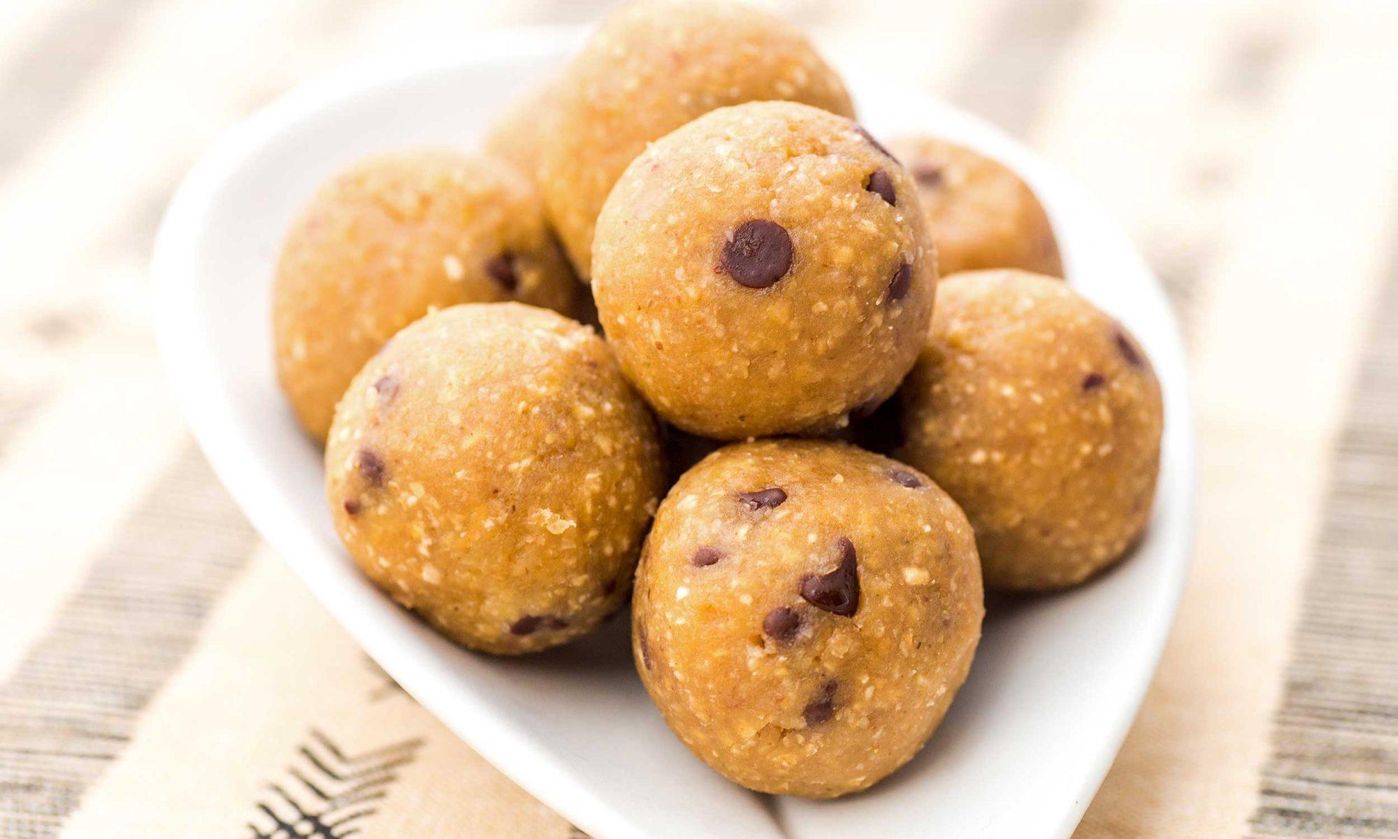 Peanut Butter Chickpea Energy Balls on White Plate