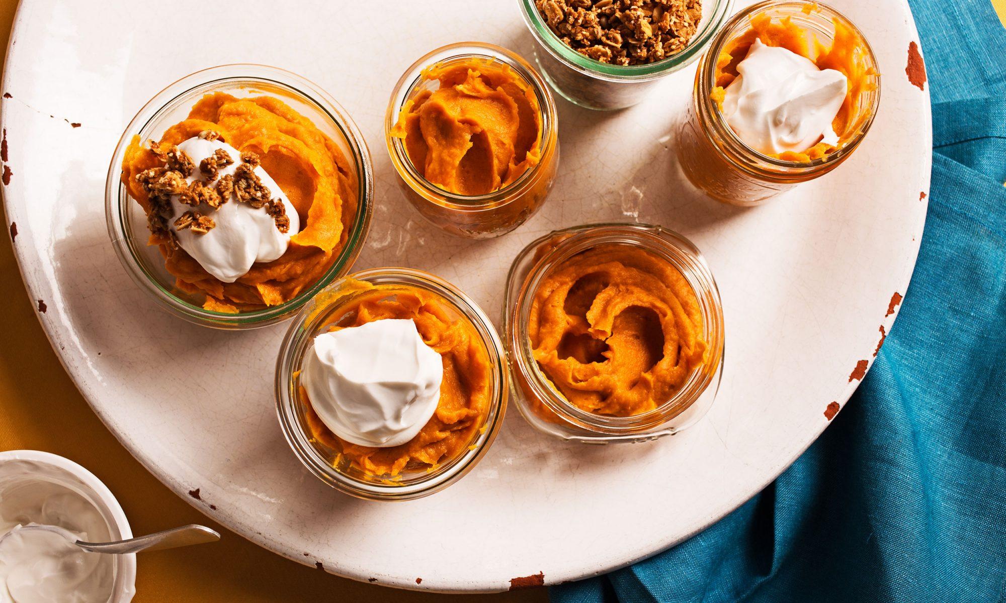 friendsgiving sweet potato pumpkin pudding hero
