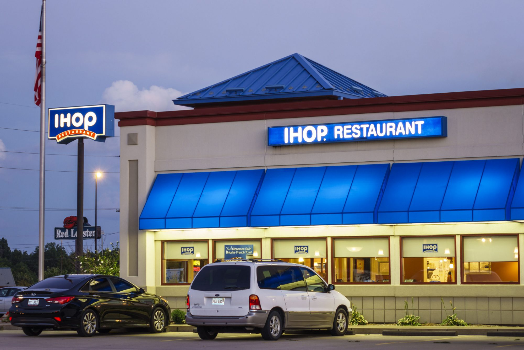 IHOP restaurant exterior at night.