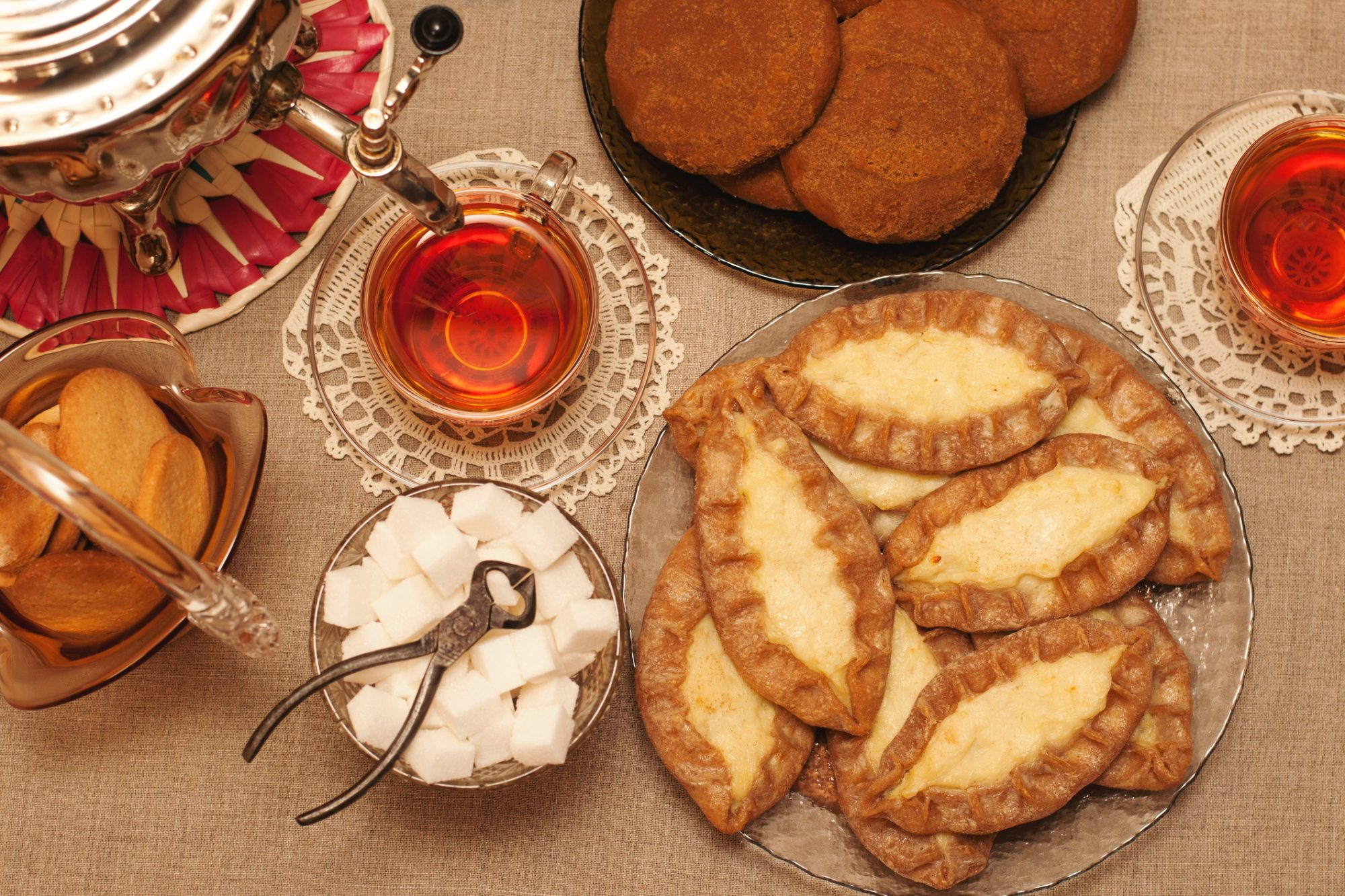 Traditional home made karelian opened pasties by rye flour, cookies