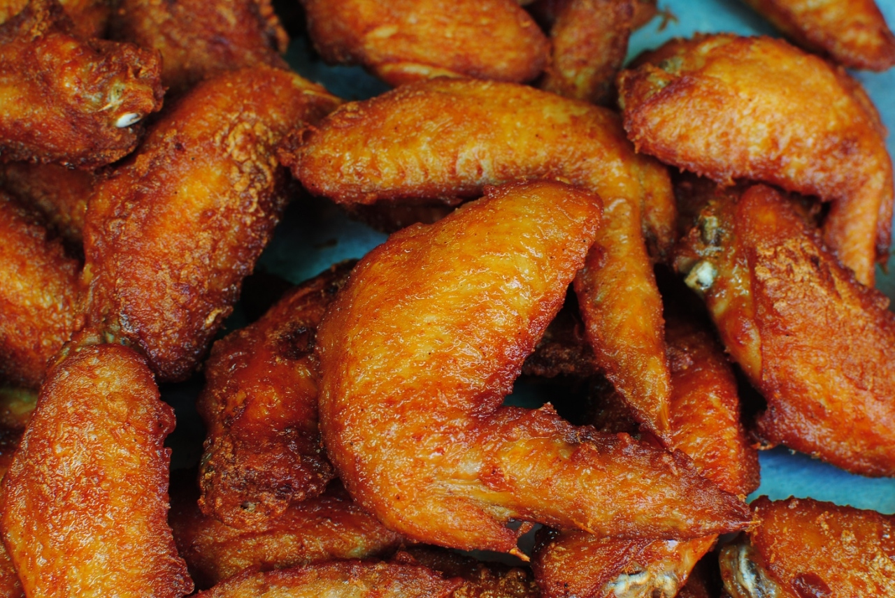 High Angle View Of Fried Chicken Wings