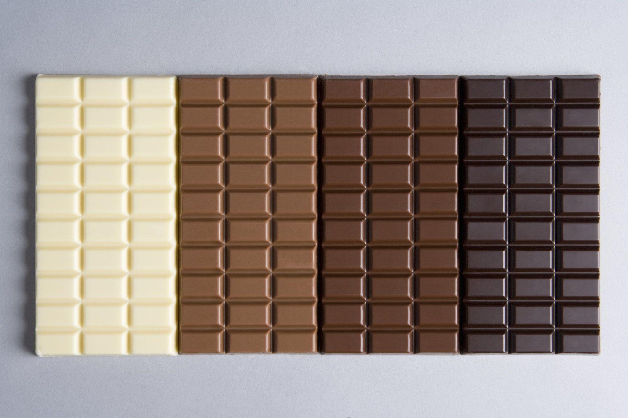 A row of chocolate bars