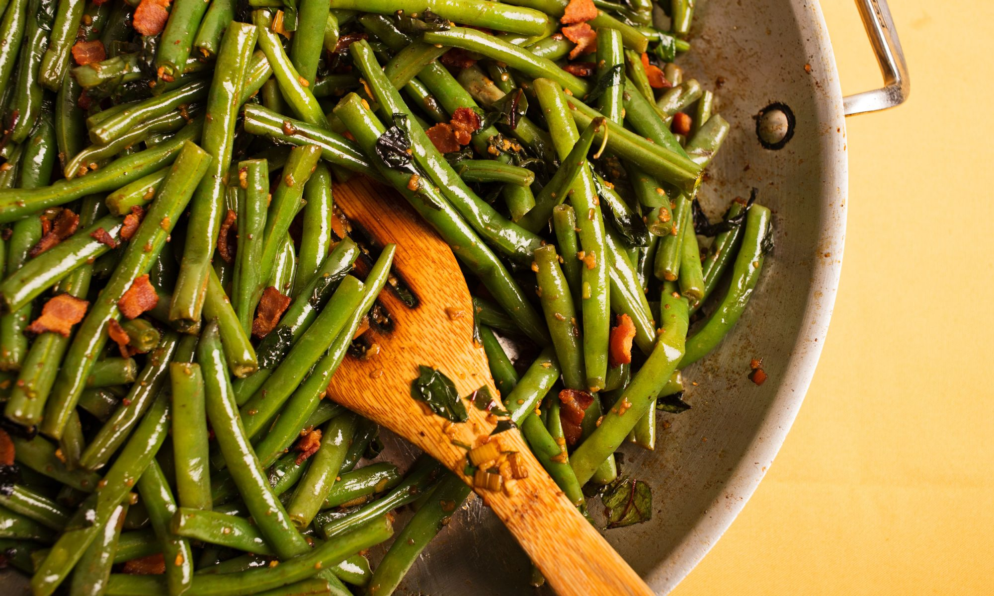 Super-Garlicky Green Beans and Chard with Bacon
