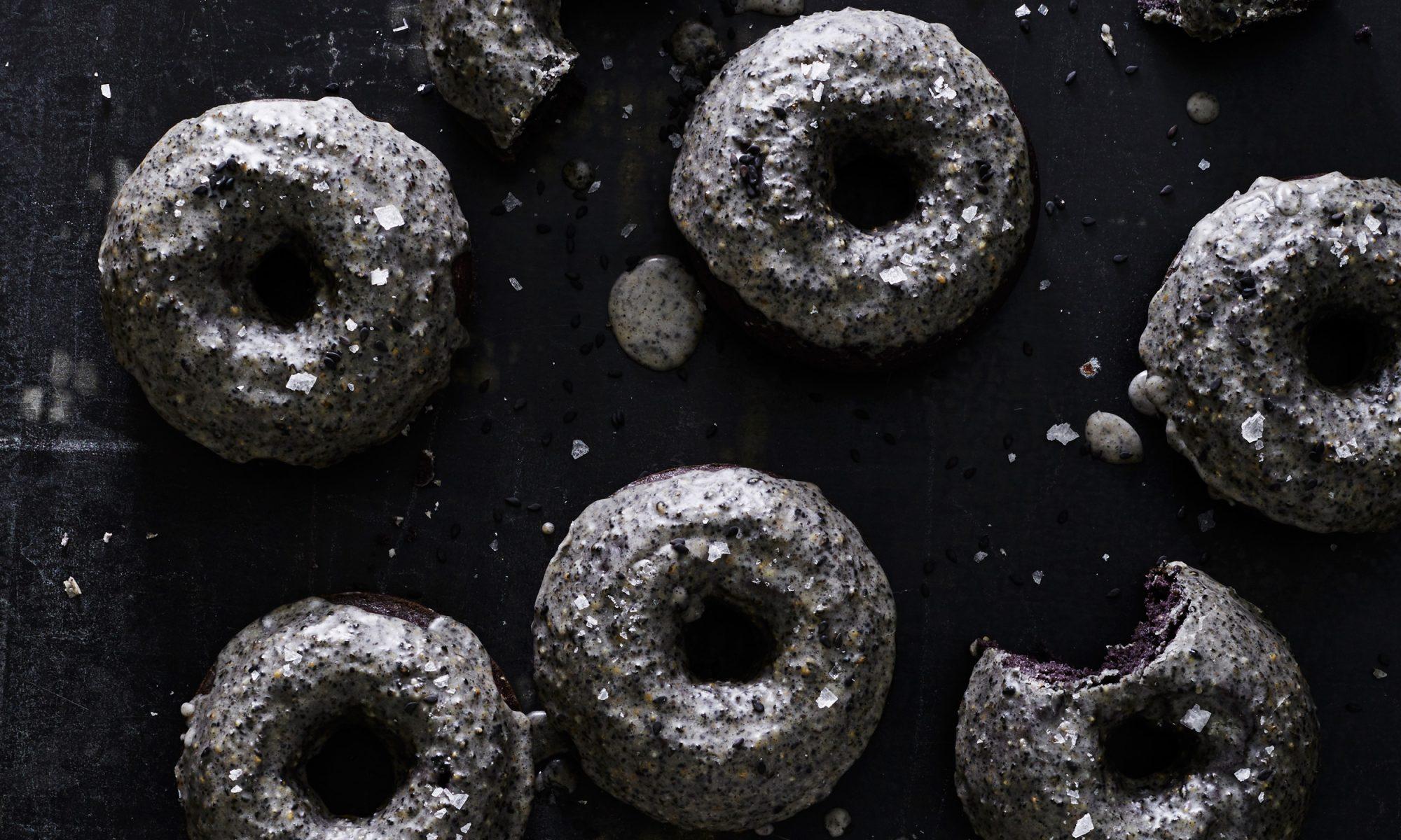 lemon black sesame doughnuts