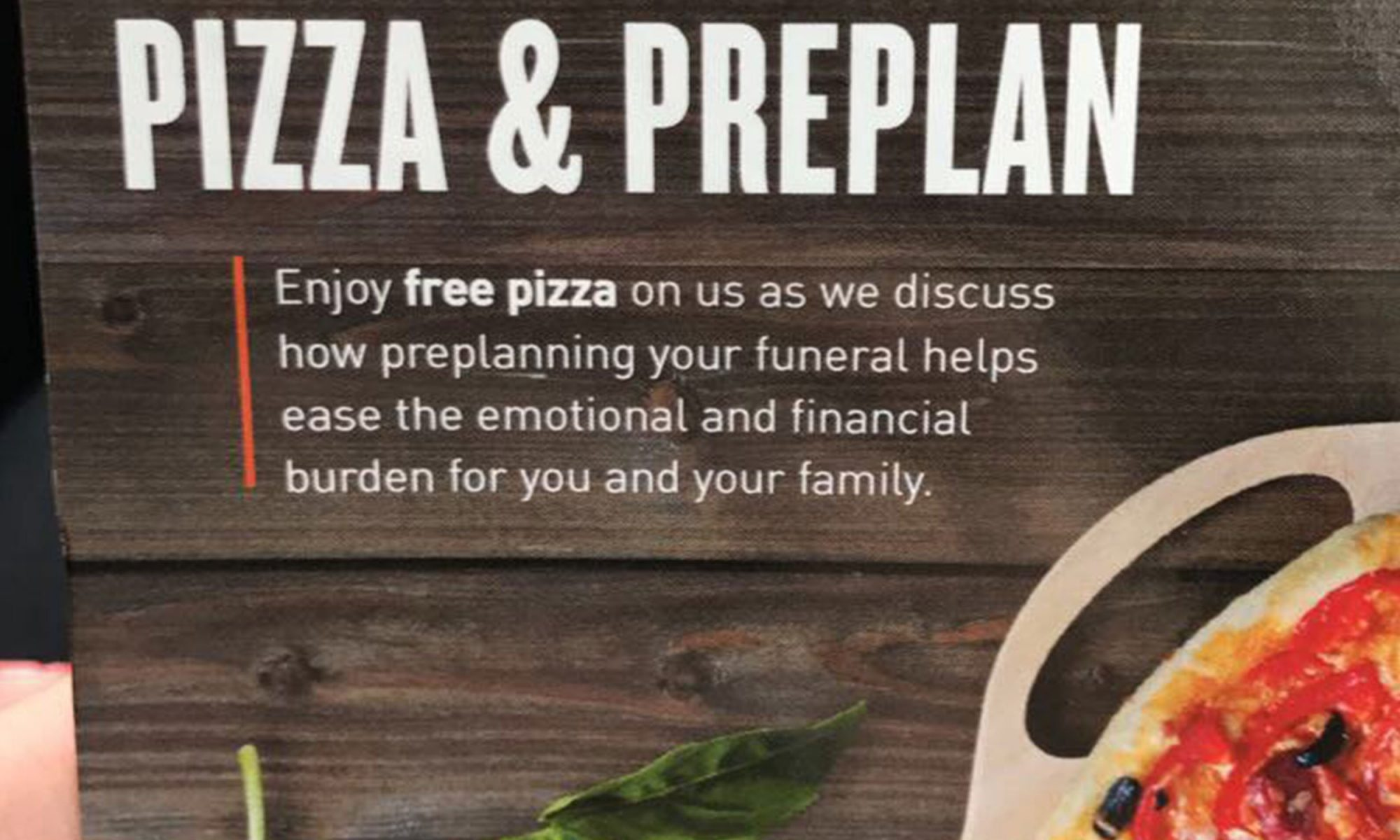 pizza and preplan funeral home