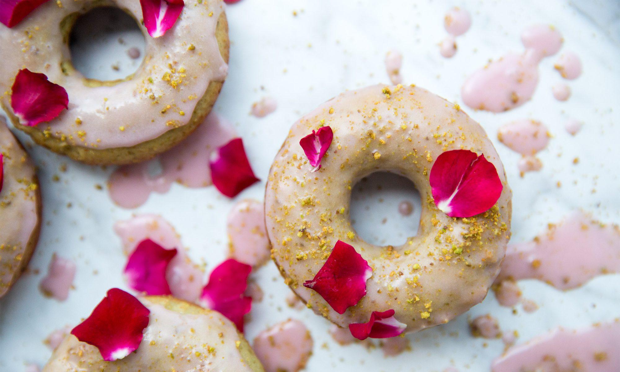 Rose Pistachio Doughnuts