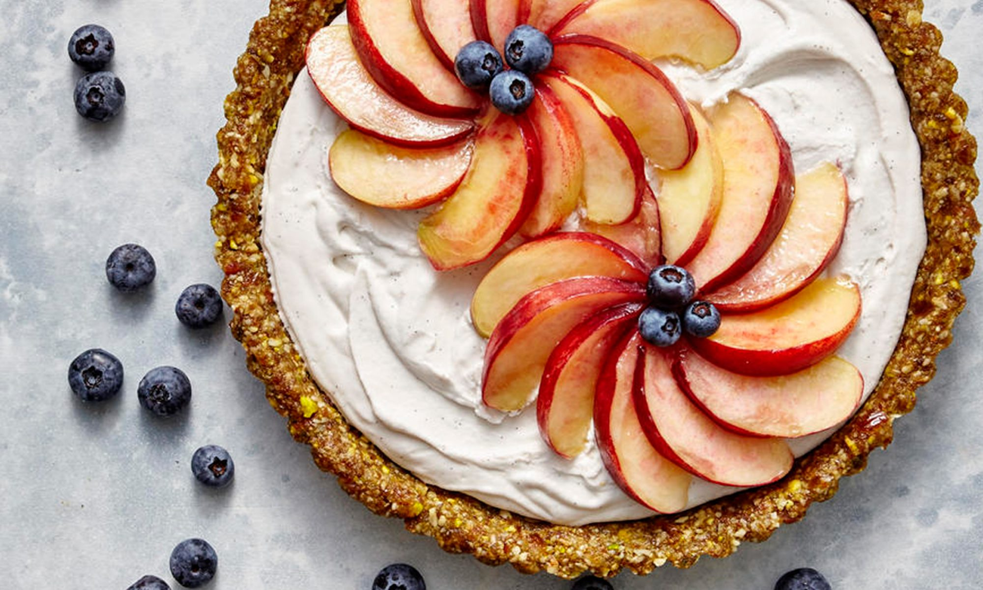 Vegan Coconut Cream Tart with White Peaches and Blueberries