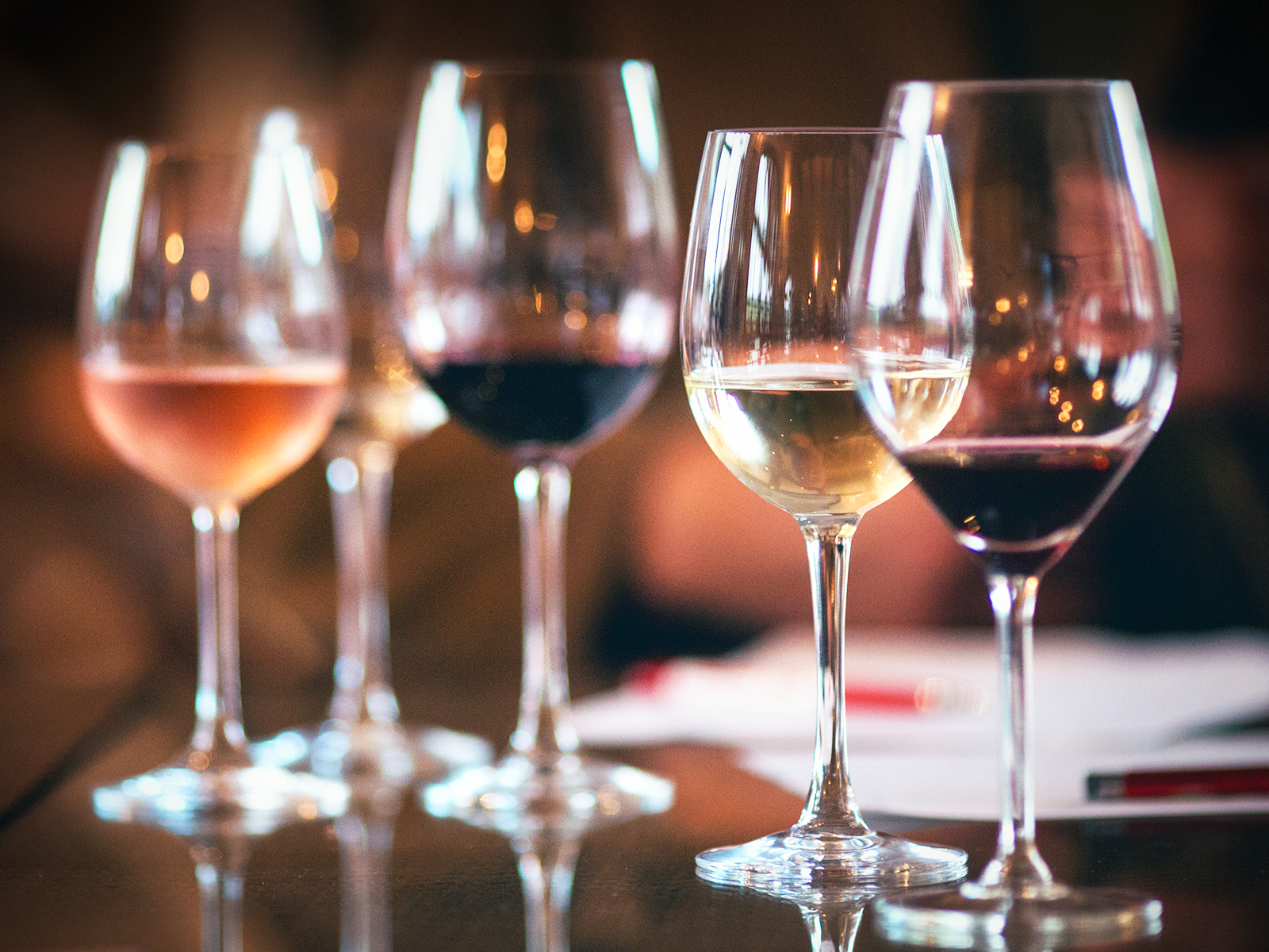 WIneglasses with different kinds of wines.