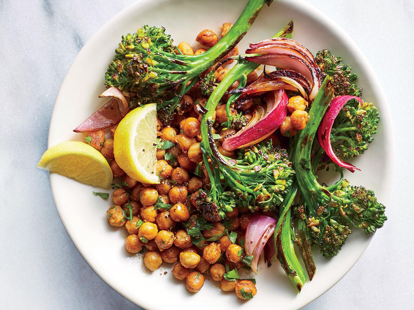 Charred Broccolini and Onion Chickpea Bowls