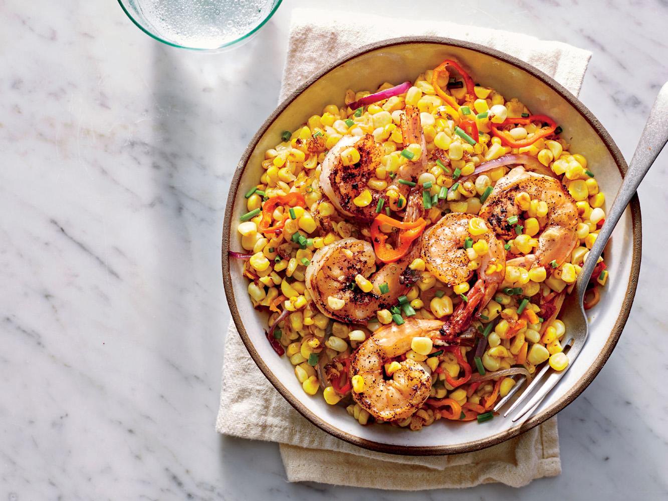 Brined Shrimp with Charred Corn Salad