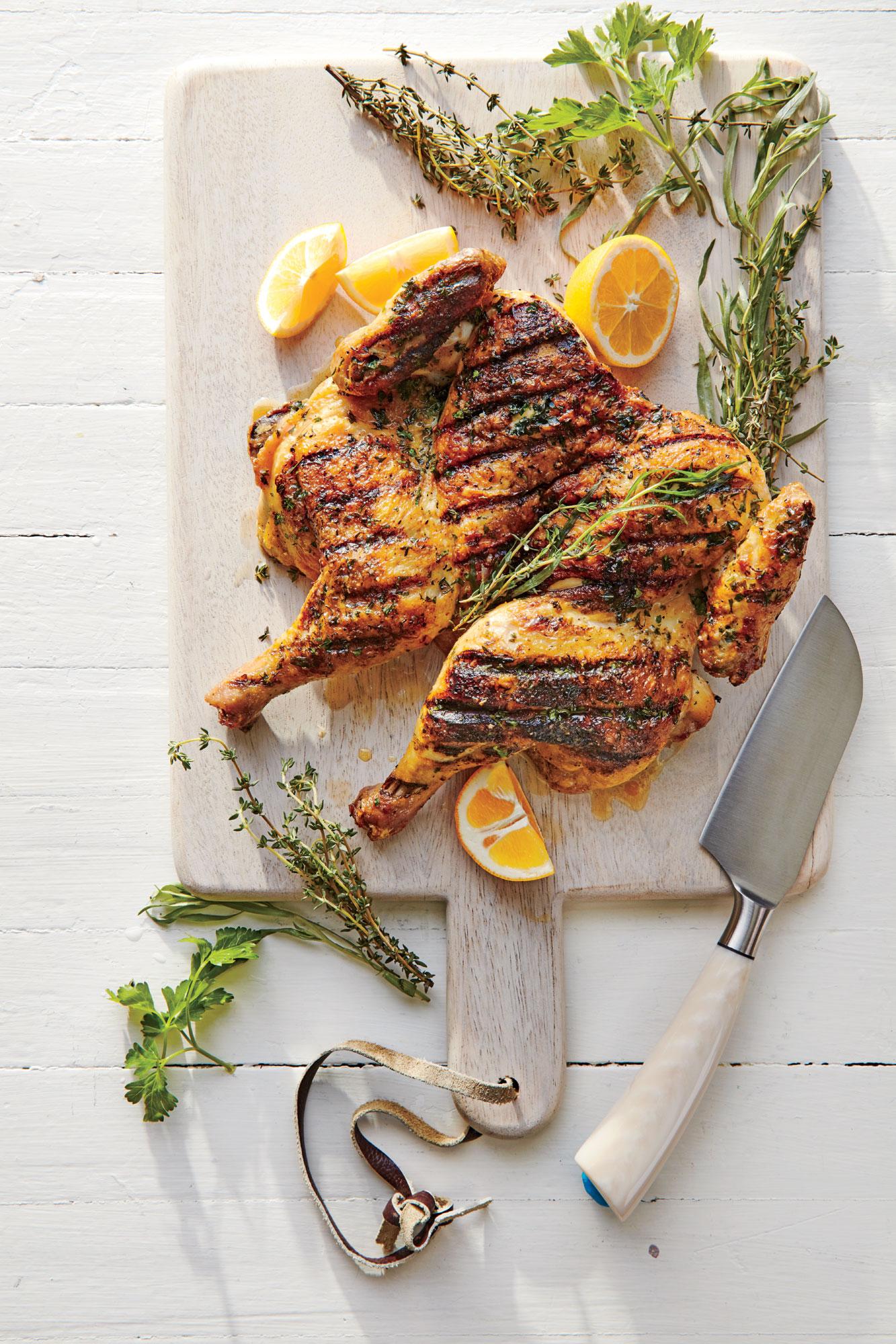 Herb-Rubbed Chicken Under a Brick
