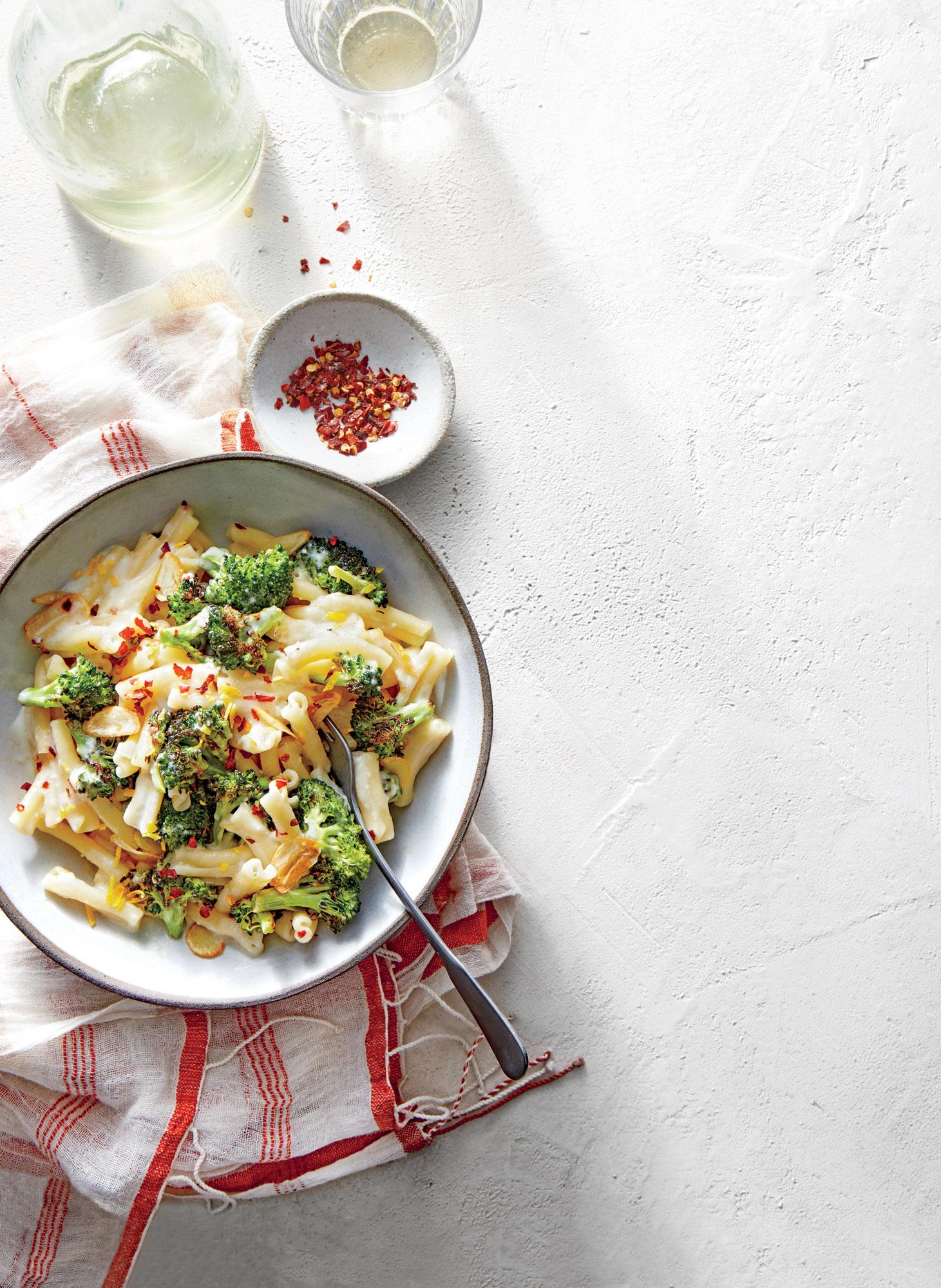 Pasta with Charred Broccoli, Feta, and Lemon