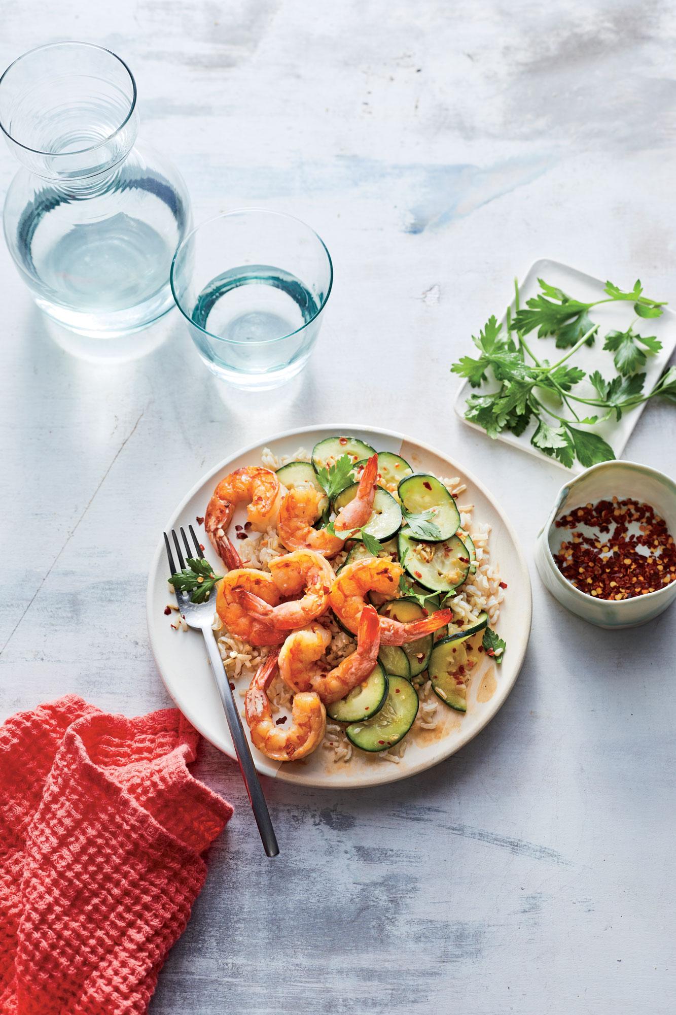 Sesame Shrimp with Smashed Cucumber Salad