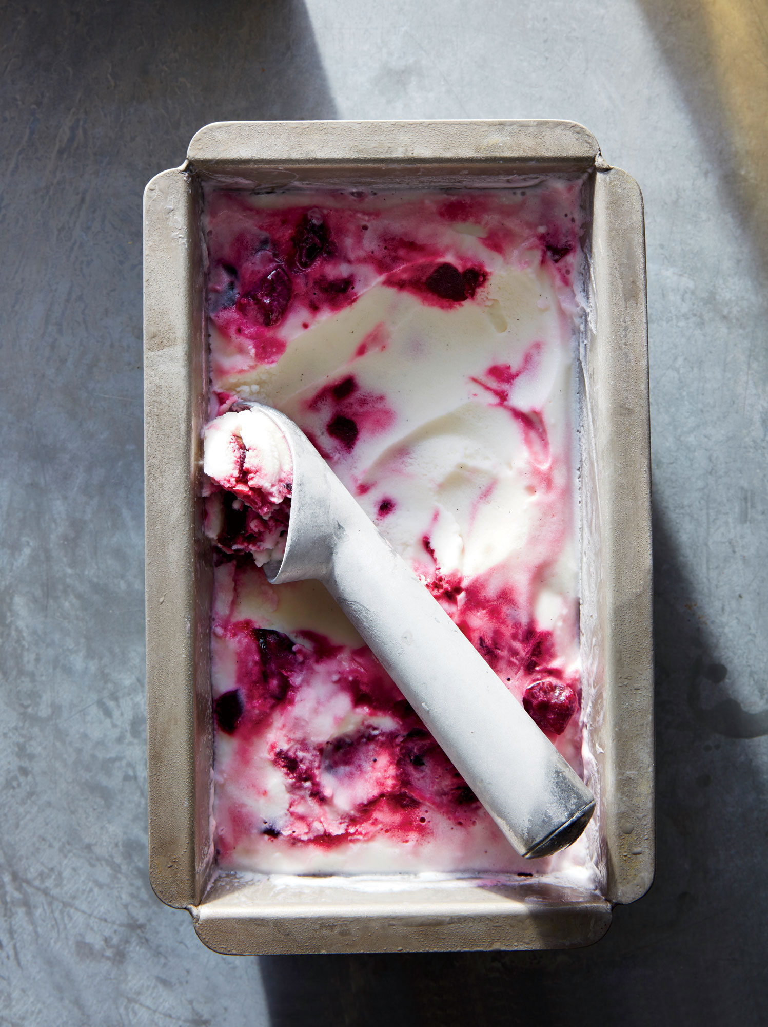 Vanilla Frozen Yogurt with Fresh Cherry Swirl