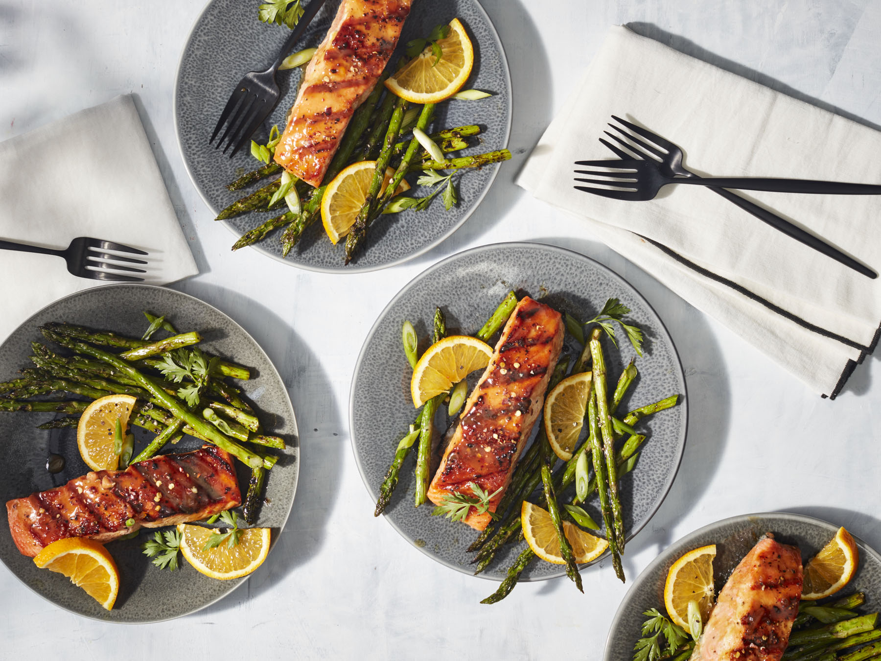 <p>Grilled Salmon with Orange-Soy Glaze</p>