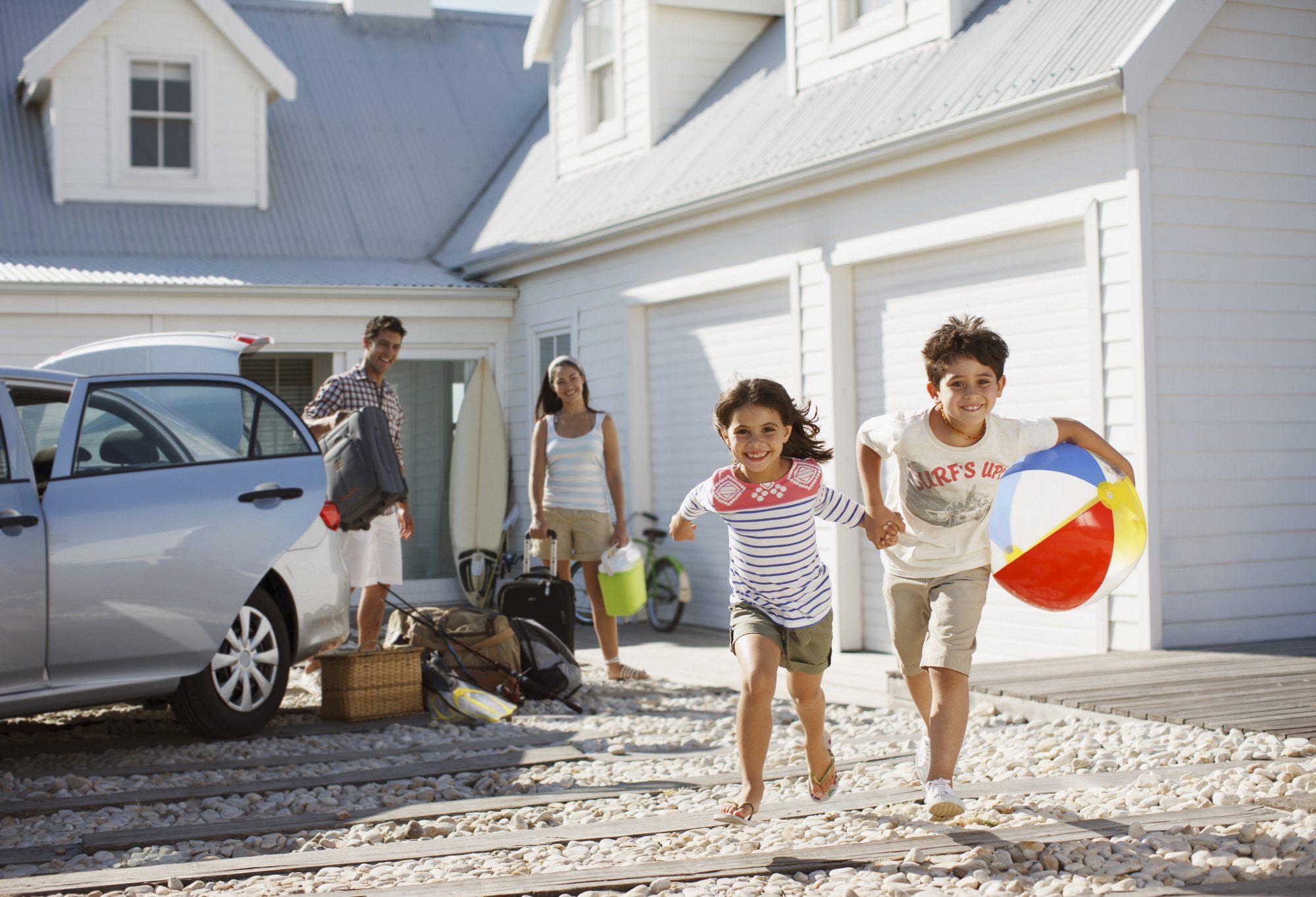 Family at beach house