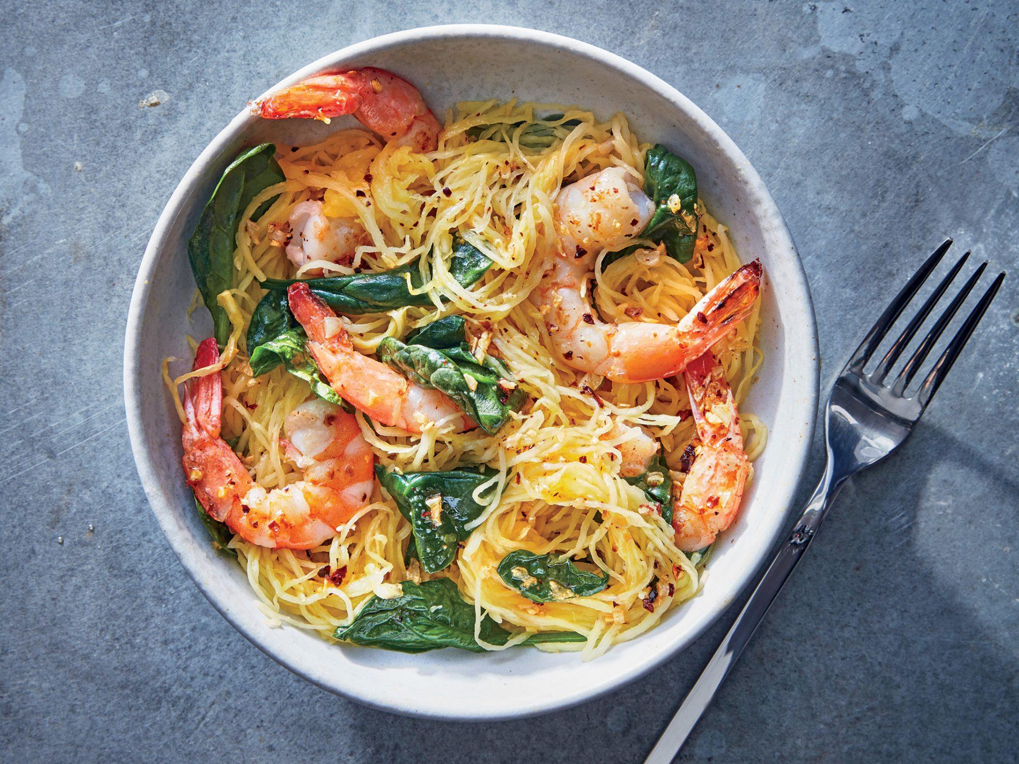 Spaghetti Squash Shrimp Scampi