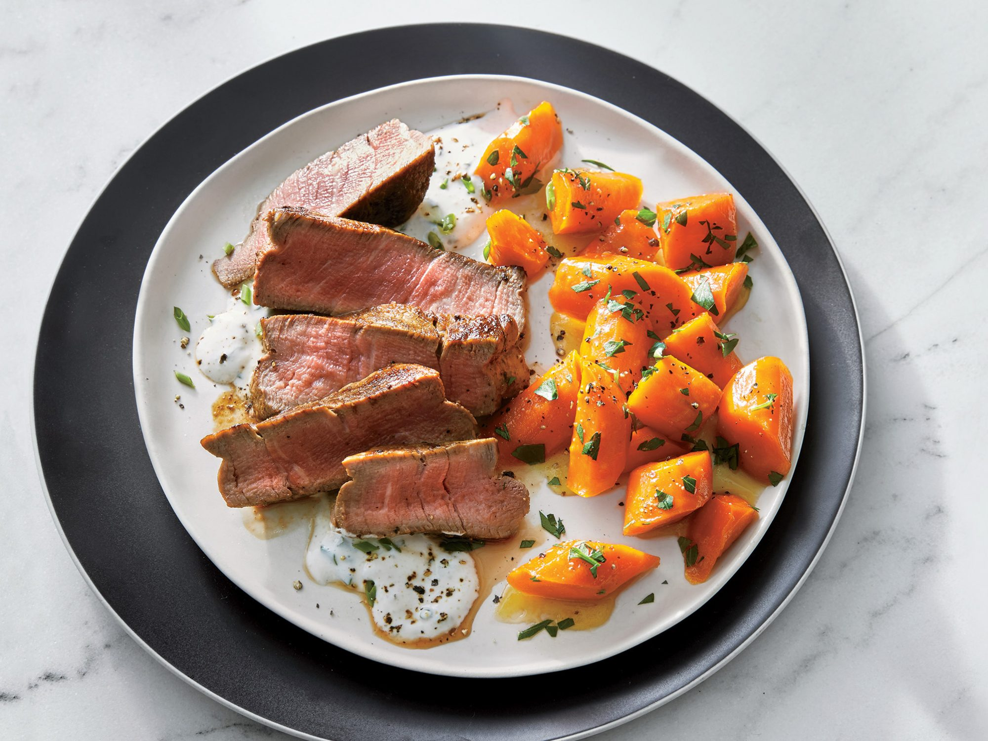 Beef Tenderloin with Horseradish Cream and Glazed Carrots