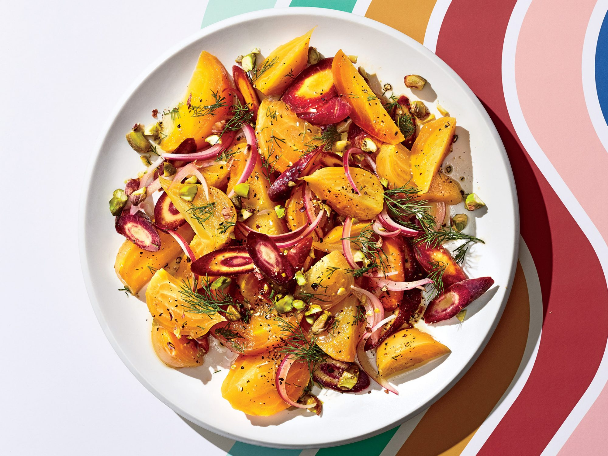 Beet, Carrot, and Pistachio Salad