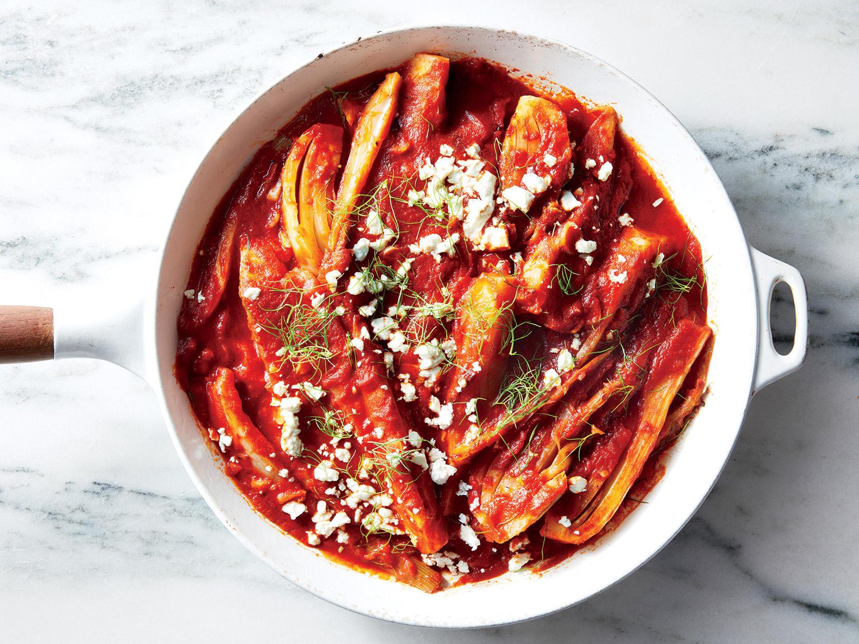 Fennel, Tomato, and Feta Skillet Bake