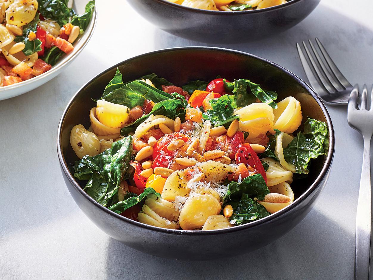 Kale, Tomato, and Pancetta Pasta
