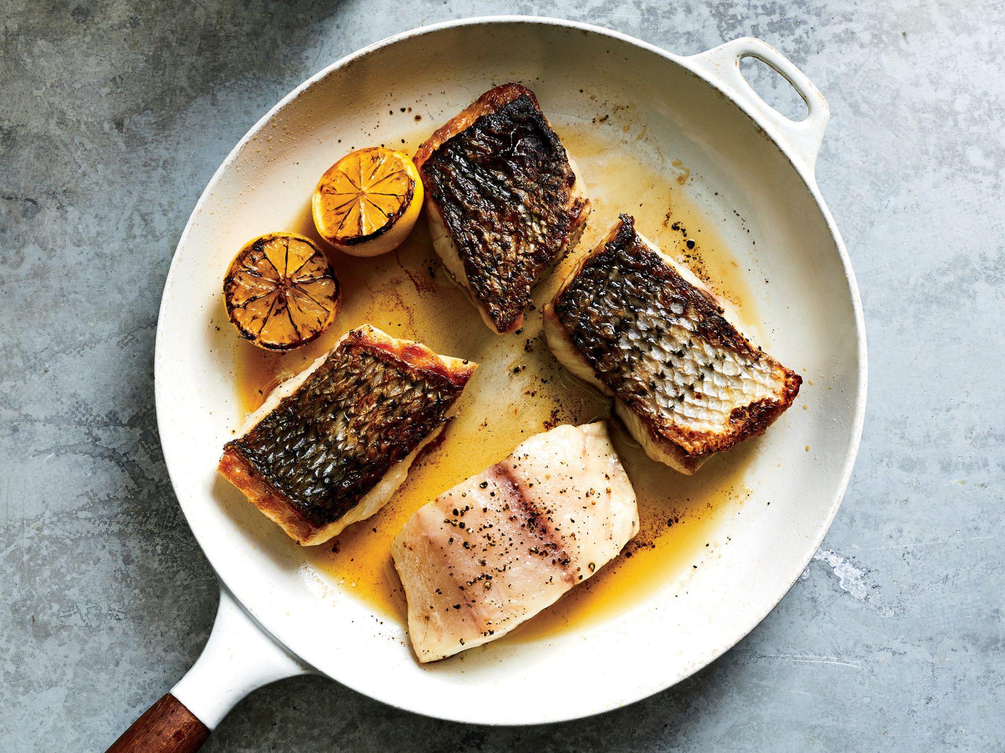 Sautéed Striped Bass in Pan