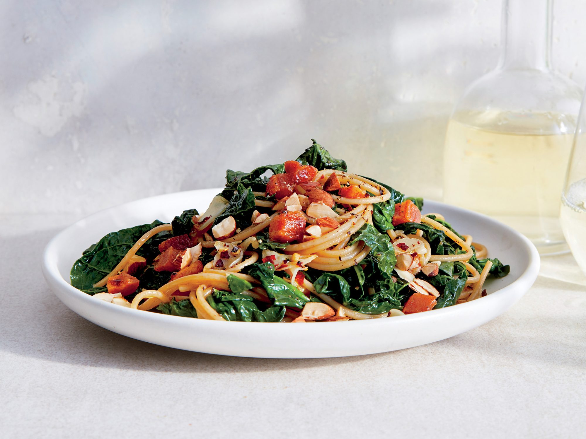 Make Garden Greens Pasta With Almonds and Pancetta in 20