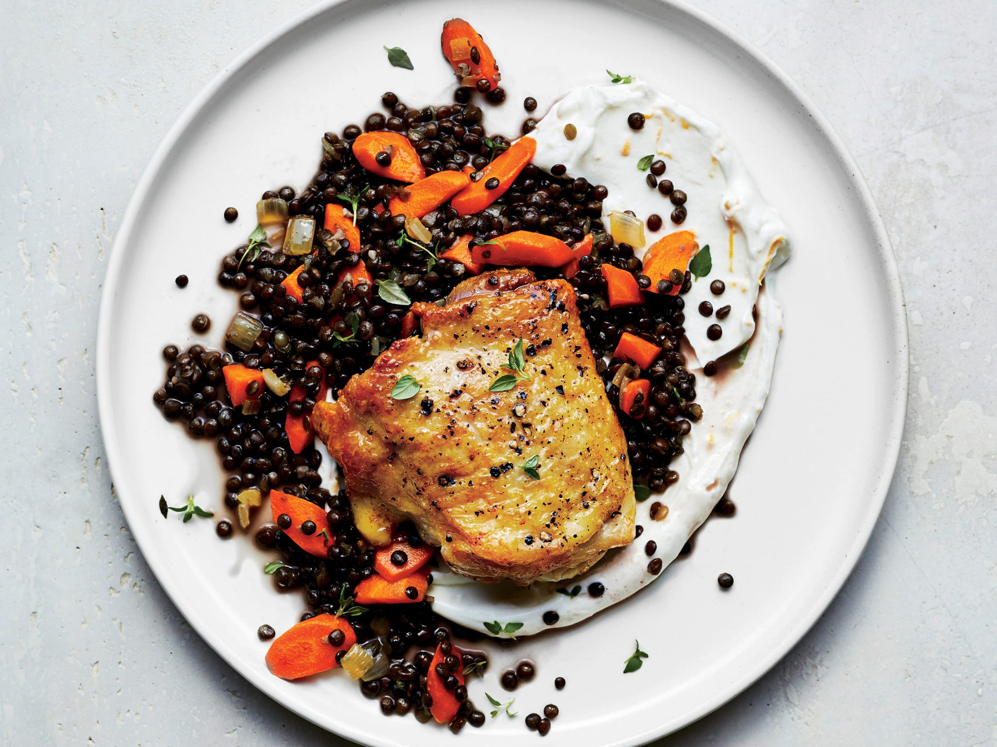 Roast Chicken with Lentils and Yogurt