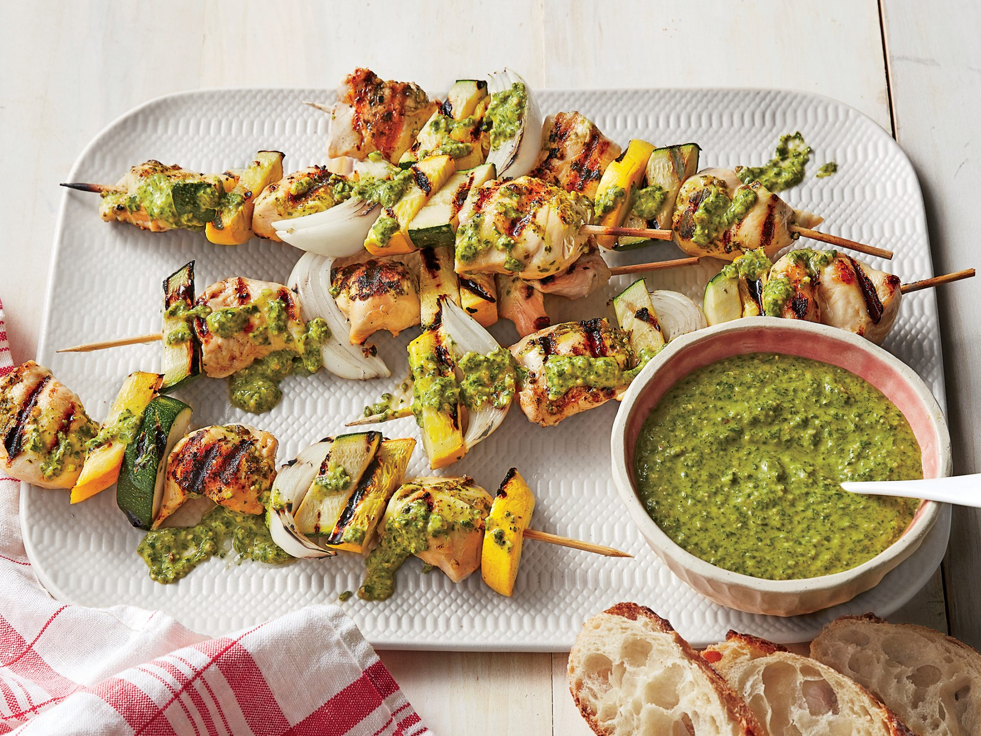 <p>Grilled Chicken Kebabs with Arugula Pesto</p>