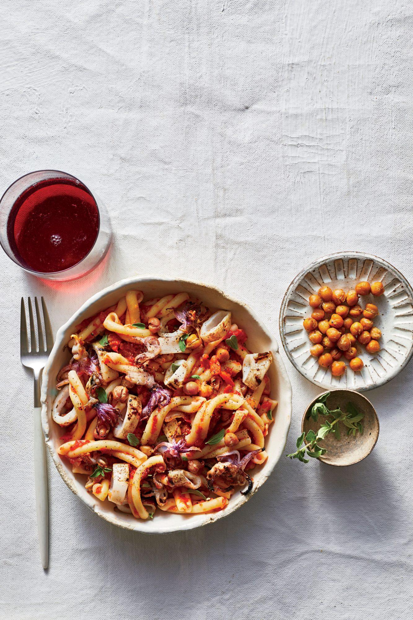 Strozzapreti with Grilled Calamari, Roasted Tomato Sauce, and Crispy Chickpeas