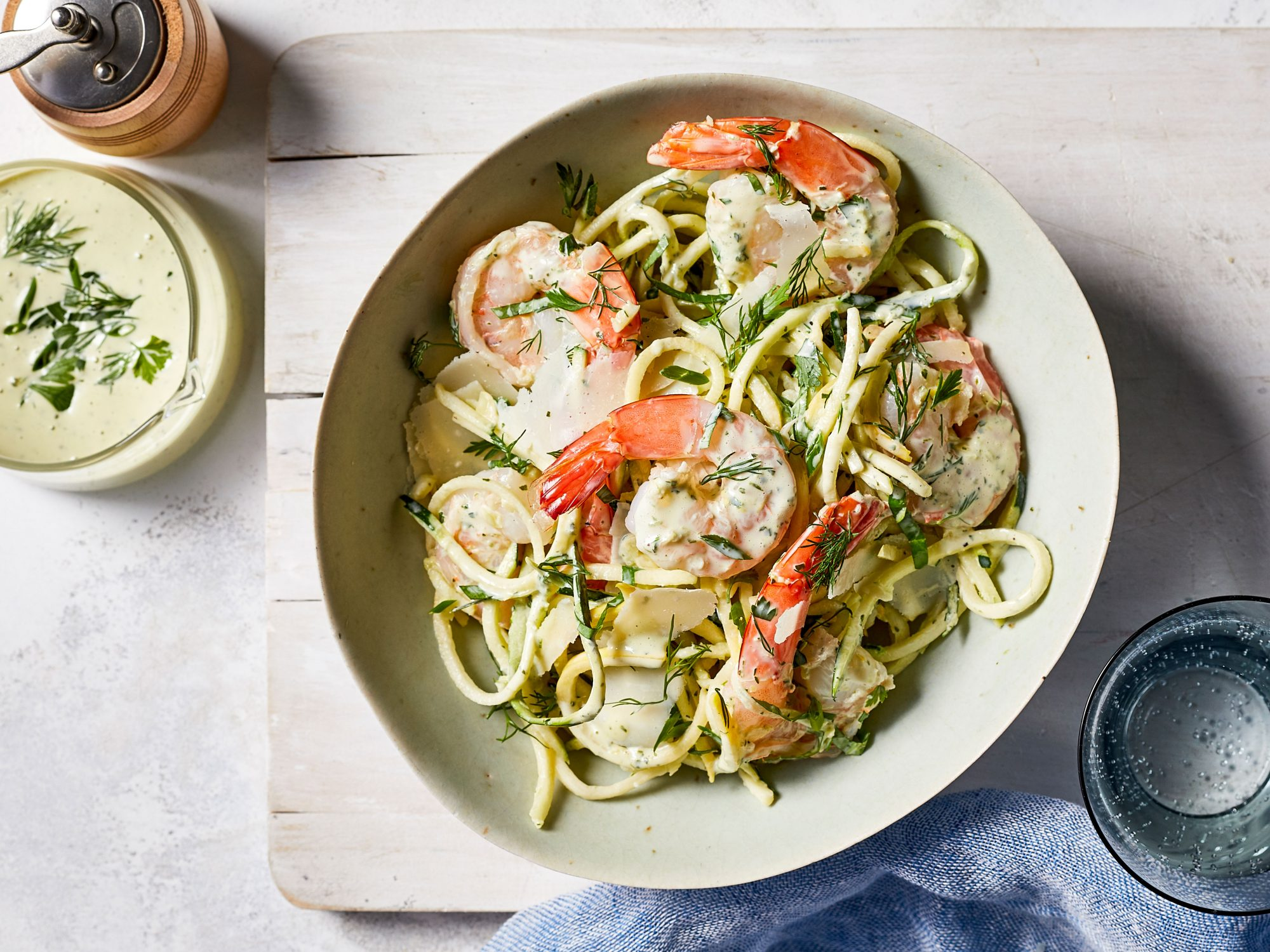 mr- Summer Fresh Zucchini-Squash Zoodles with Shrimp and Green Goddess Dressing