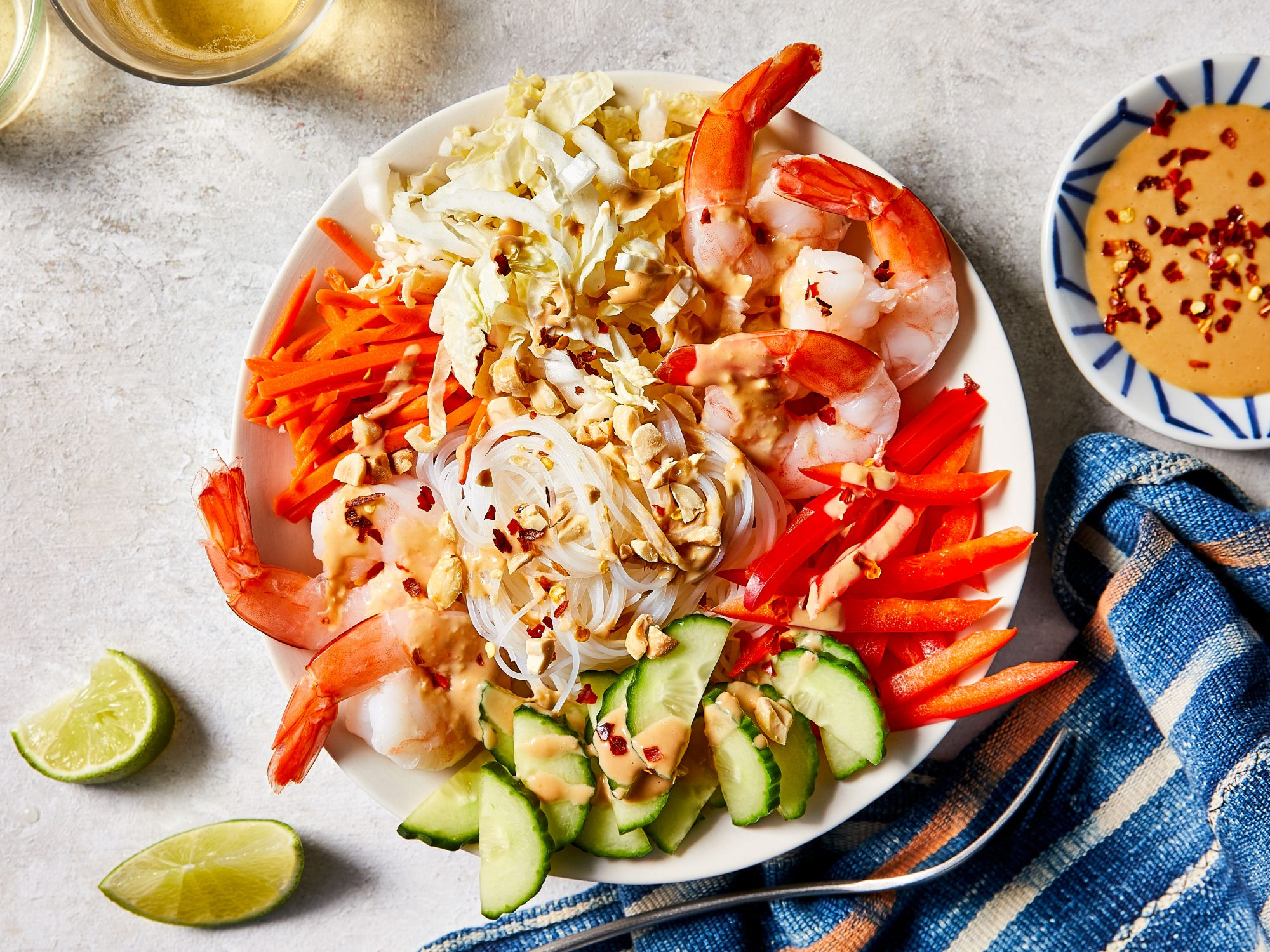 No-Cook Shrimp Noodle Bowl with Peanut-Ginger Sauce