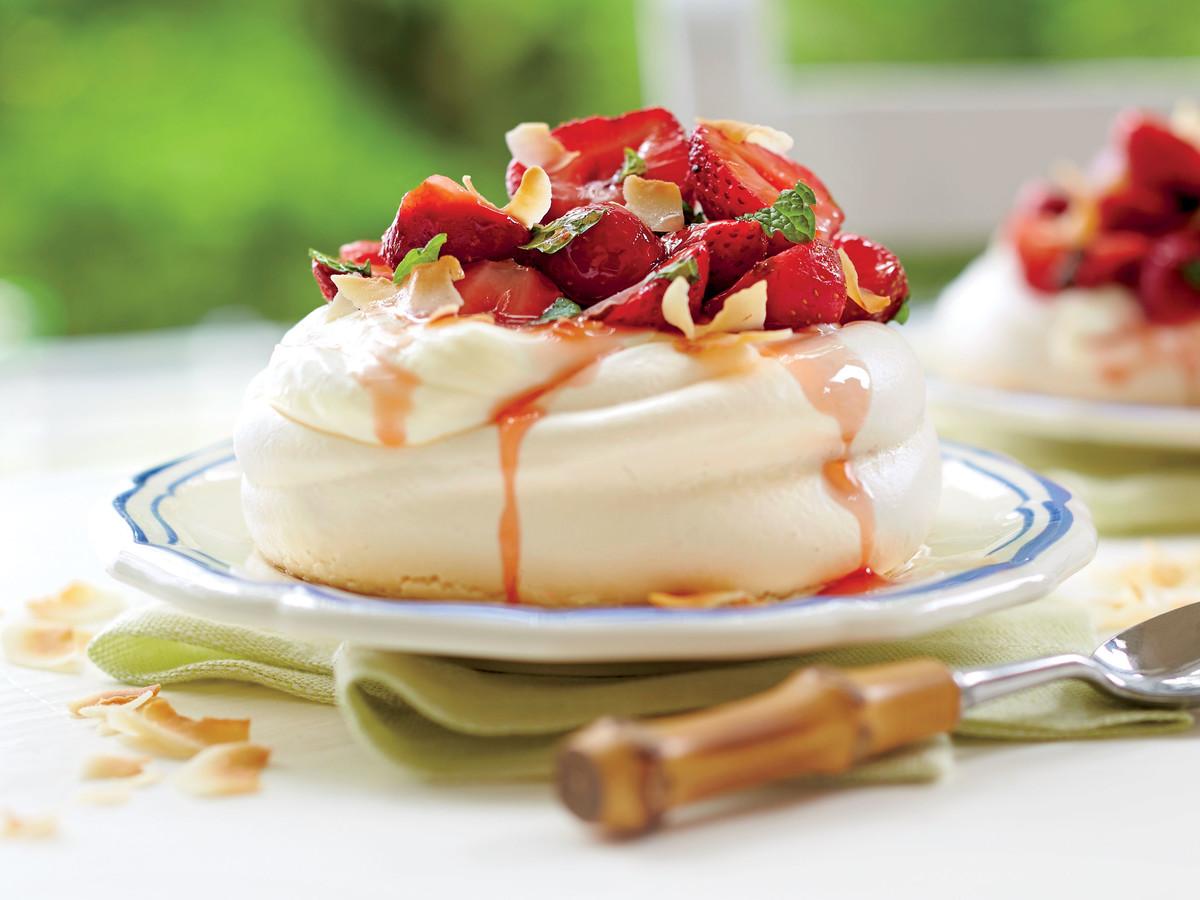 Coconut Meringues with Elderflower Strawberries