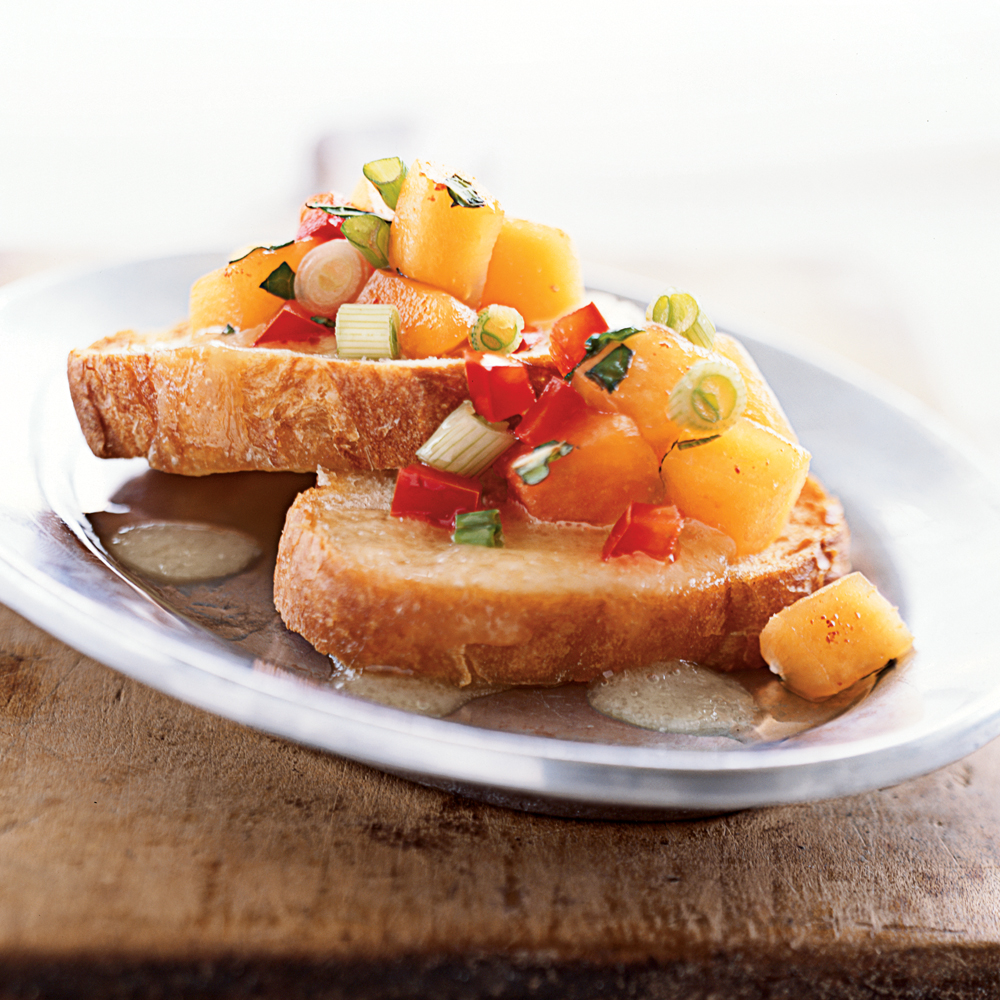 Easy finger food recipes ideas for parties myrecipes bruschetta with peach salsa and melted brie forumfinder Image collections