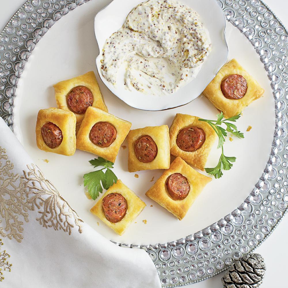 Chicken Sausage Puffs with Creamy Mustard Dipping Sauce