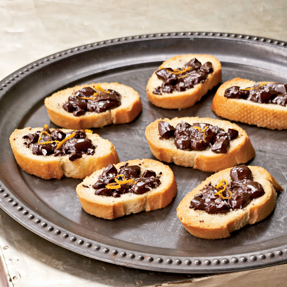 Chocolate Bruschetta RecipeTurn your bruschetta into a sweet treat for a change. Salt enhances the chocolate flavor. For best results, use good-quality chocolate and coarse sea salt.