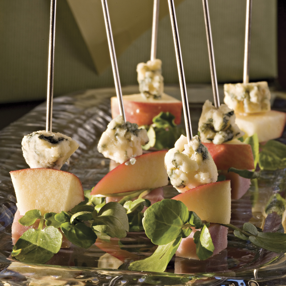 Ham-and-Cheese Skewers RecipeThese 4-ingredient appetizer skewers are the perfect pick-up party food and an elegant addition to an appetizer menu.