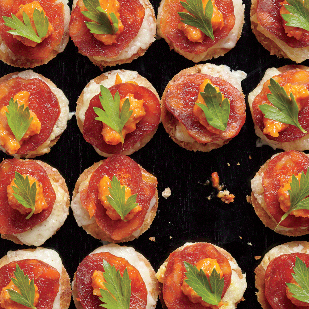 Melted Manchego Tortas with Romesco and Chorizo
