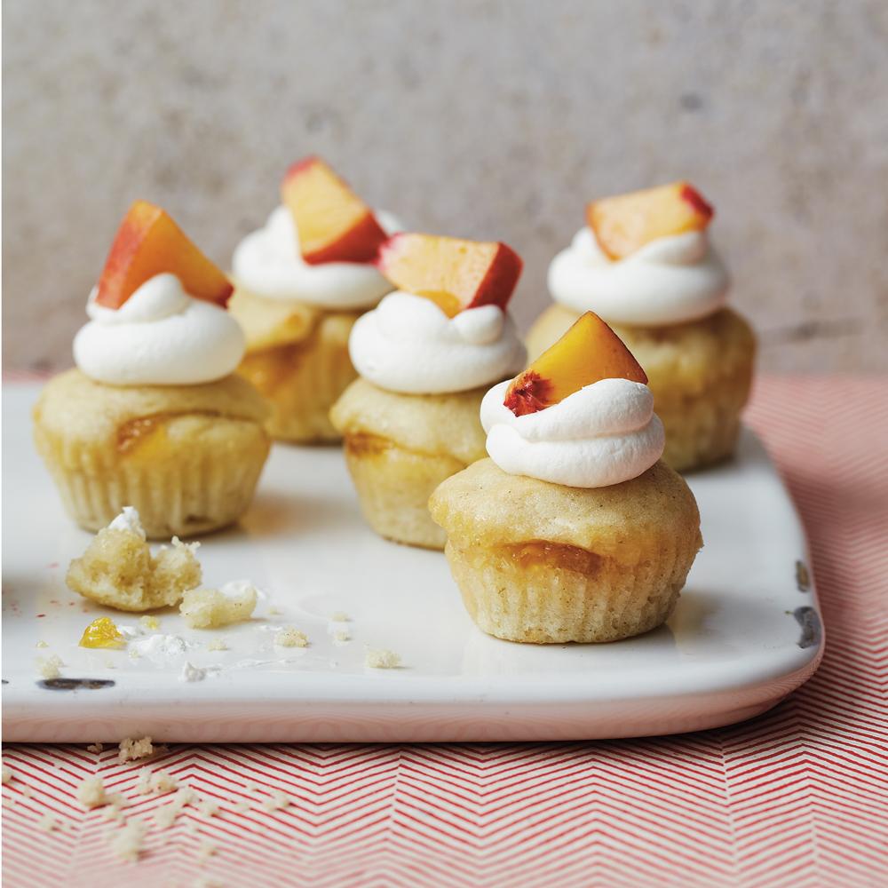 Peaches and Cream Mini Cupcakes Recipe | MyRecipes