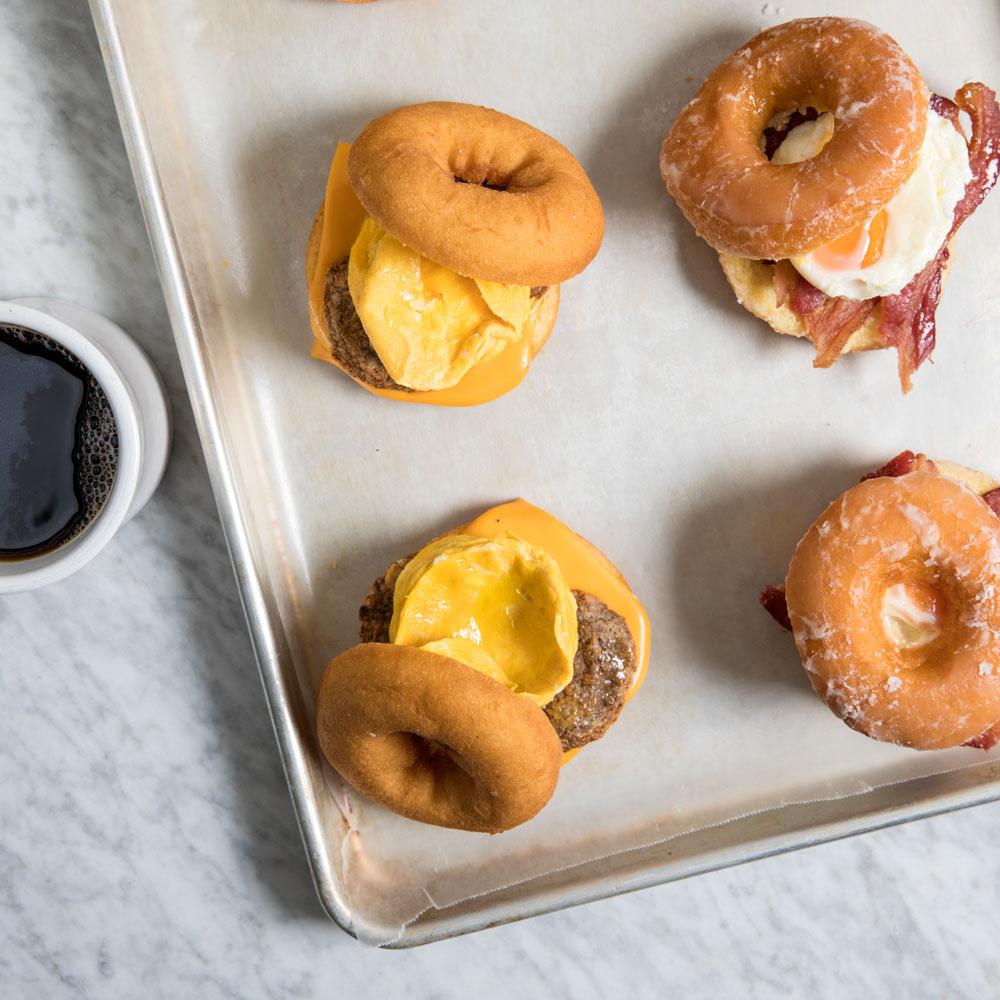 Cake Doughnut Breakfast Sandwich