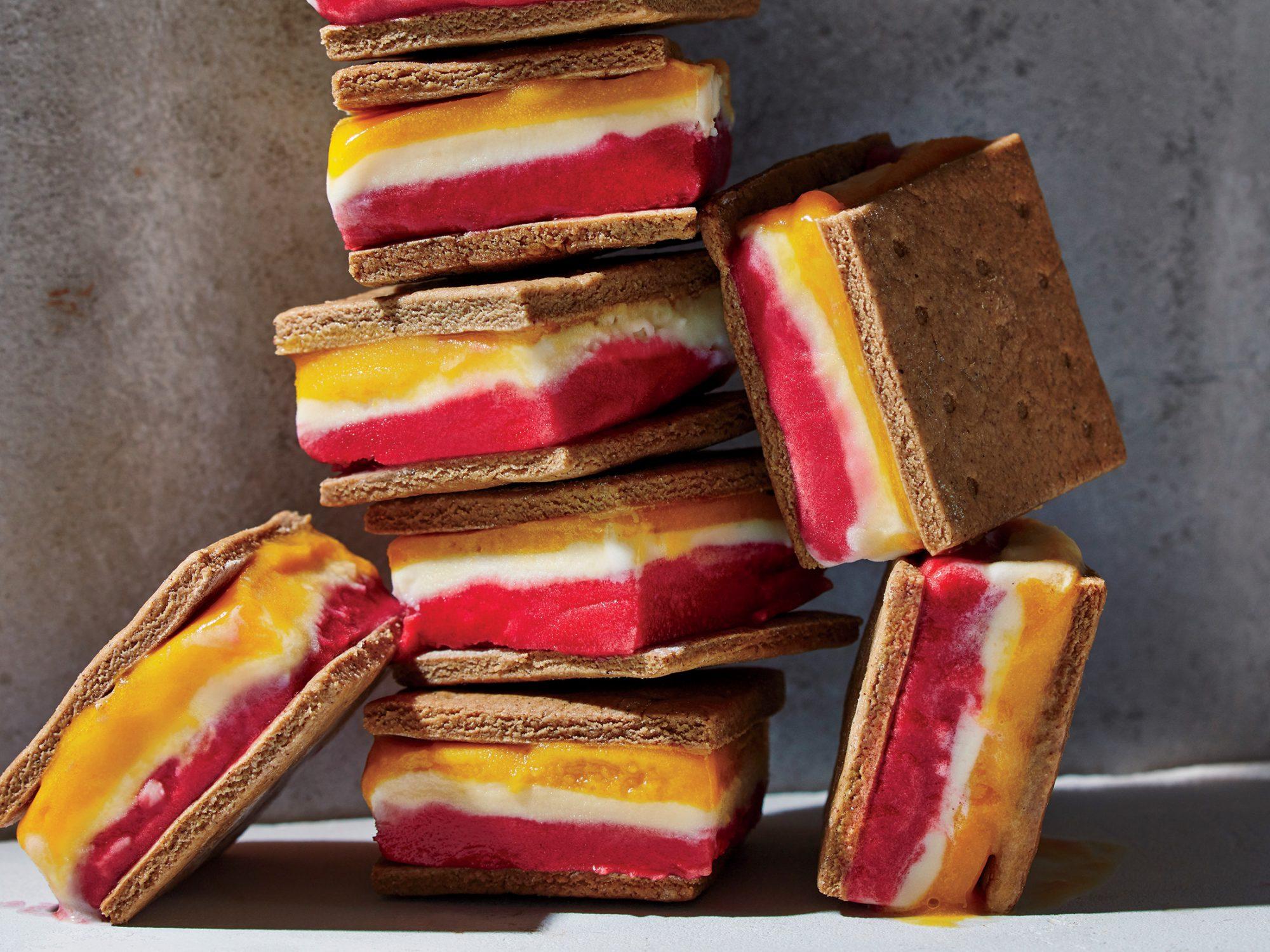 Striped Yogurt-and-Sorbet 'Ice Cream' Sandwiches