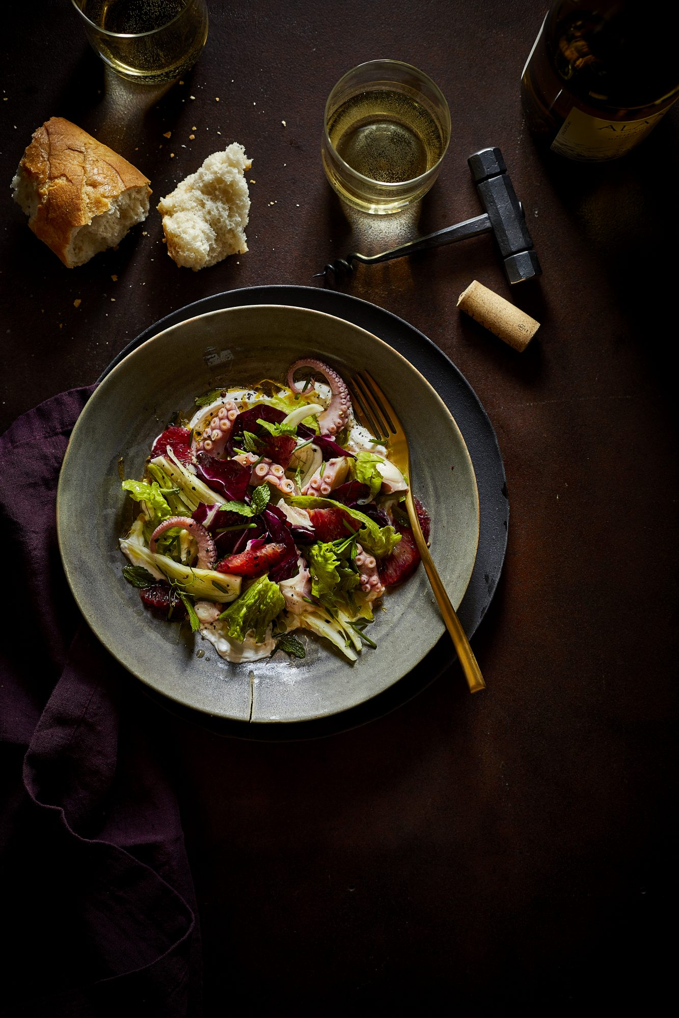 Citrus Marinated Octopus with Labne and Radicchio-Fennel Salad