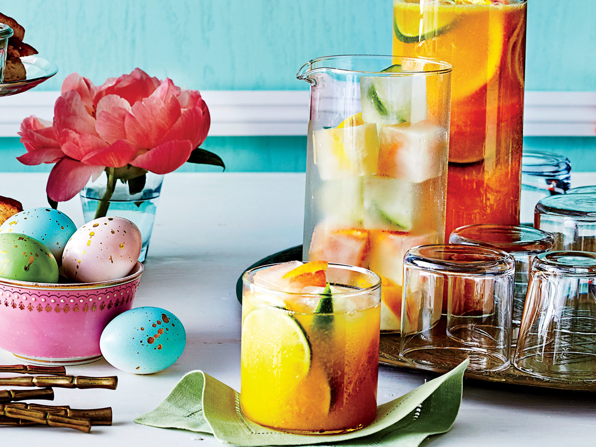 Sparkling Citrus Punch with Lemonade Ice Cubes