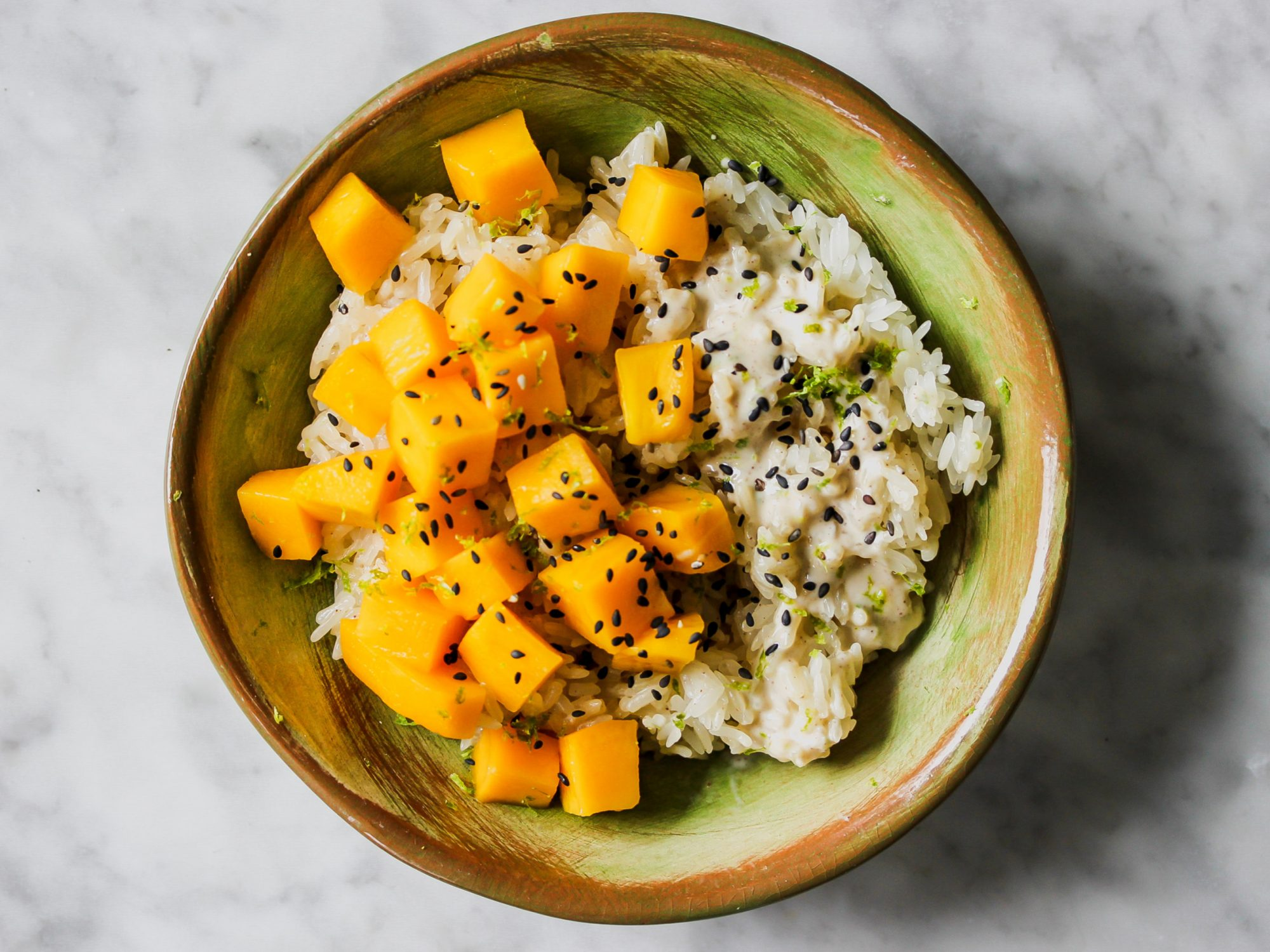 Mango Sticky Rice with Coconut-Lime Sauce